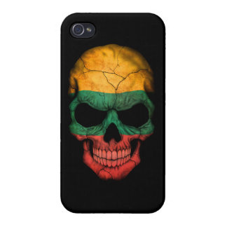 Customizable Lithuanian Flag Skull iPhone 4 Case