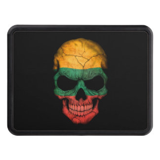 Customizable Lithuanian Flag Skull Trailer Hitch Cover