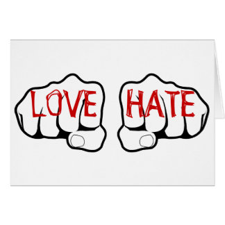 Customizable LOVE HATE Fists Card
