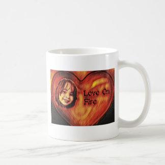 Customizable Love On Fire Heart Design Coffee Mug