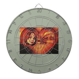 Customizable Love On Fire Heart Design Dartboard