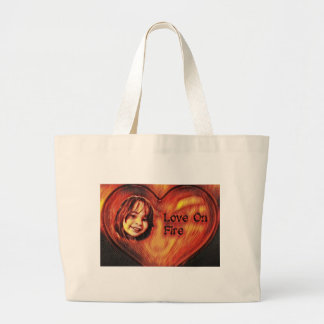 Customizable Love On Fire Heart Design Large Tote Bag