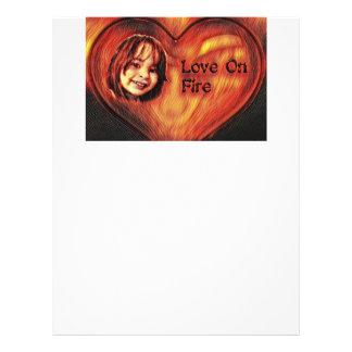 Customizable Love On Fire Heart Design Letterhead