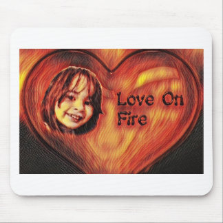 Customizable Love On Fire Heart Design Mouse Pad