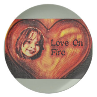 Customizable Love On Fire Heart Design Party Plates