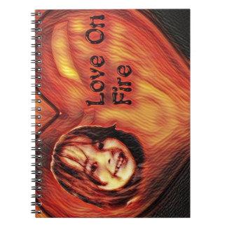 Customizable Love On Fire Heart Design Spiral Notebook