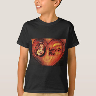 Customizable Love On Fire Heart Design T-Shirt