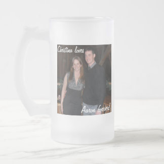 "Customizable ""loves"" Mug! 16 Oz Frosted Glass Beer Mug"