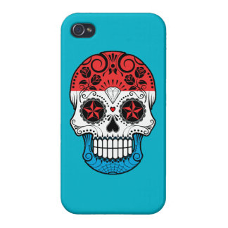 Customizable Luxembourg Sugar Skull with Roses iPhone 4/4S Cases
