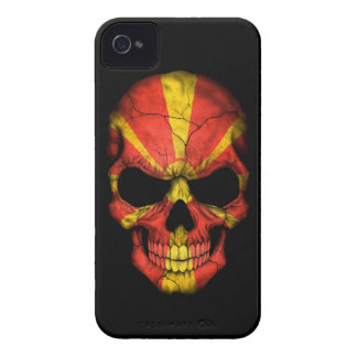 Customizable Macedonian Flag Skull Case-Mate iPhone 4 Cases
