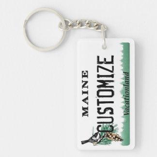 Customizable Maine license plate keychain