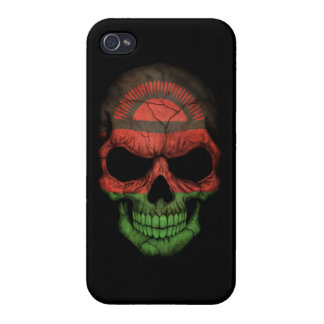 Customizable Malawi Flag Skull Covers For iPhone 4