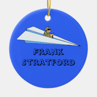Customizable Man Flying Paper Airplane Ceramic Ornament