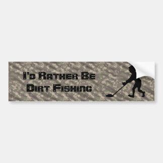 Customizable Man Metal Detecting Silhouette Bumper Sticker
