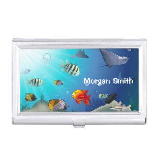 Customizable Marine Life Scene Business Card Holder