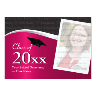 Customizable Maroon and Black Graduation Card