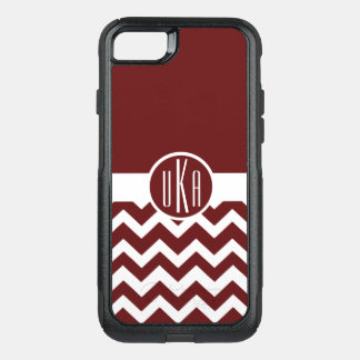 Customizable Maroon and White Monogram OtterBox Commuter iPhone 7 Case