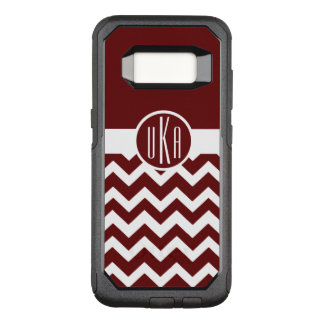Customizable Maroon and White Monogram OtterBox Commuter Samsung Galaxy S8 Case