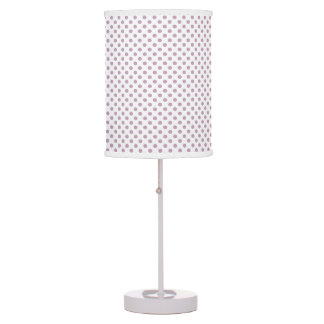 Customizable Mauve Mist on White Polka Dot Table Lamp
