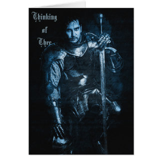 Customizable Medieval 'Blue Knight' Greeting Card