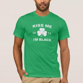 Customizable Men's Kiss Me I'm Black Shamrock T-Shirt