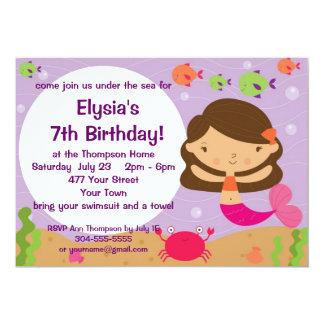 Customizable Mermaid Birthday Party 5x7 Paper Invitation Card