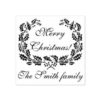 Customizable Merry Christmas rubber stamp