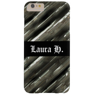 Customizable metal block background and black barely there iPhone 6 plus case