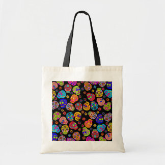 Customizable Mexican Folk Art Sugar Skulls Tote Bag