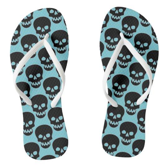 customizable mini skull all over print flip flops