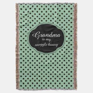 Customizable Mint Green and Black Polka Dots Throw Blanket