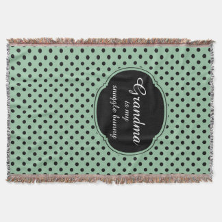 Customizable Mint Green and Black Polka Dots Throw Blanket