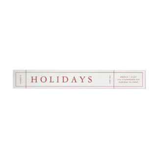 Customizable Modern Christmas Envelope Label - Red