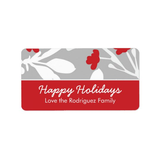 Customizable Modern Floral Holiday Label