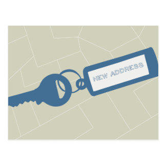 Customizable Modern Moving Announcement // Blue Postcard