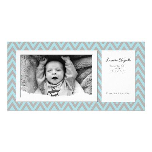 Customizable Modern Photo Birth Announcement Photo Greeting Card