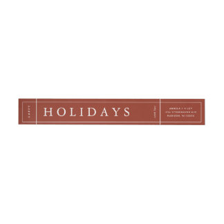 Customizable Modern Red Christmas Envelope Label