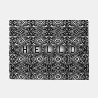 Customizable Modern Stylish B/W Silver Pattern Doormat