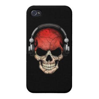Customizable Monaco Dj Skull with Headphones Case For iPhone 4