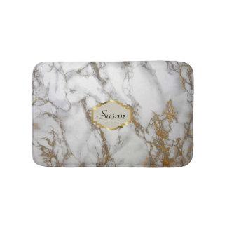 Customizable monogram Bath Mat, faux gold, gray Bathroom Mat