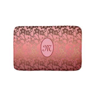 Customizable monogram Bath Mat, pinks, gold Bathroom Mat