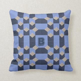 Customizable Monogram Blue Optical Illusion Pillow