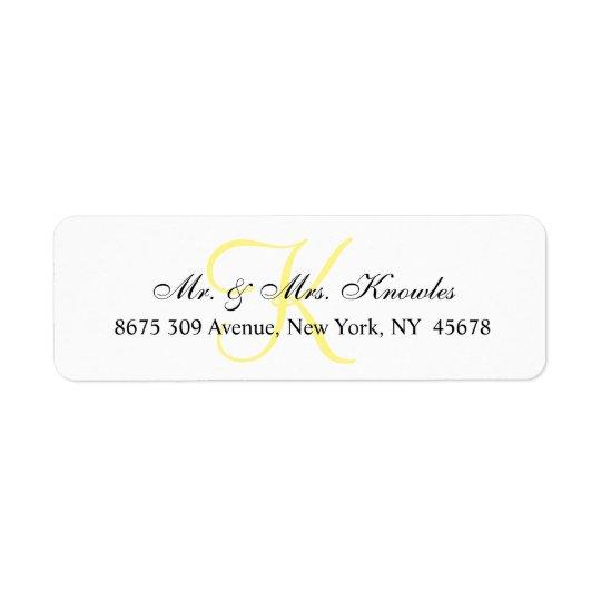 Customizable Monogram Chic Unique Personal Return Address Label
