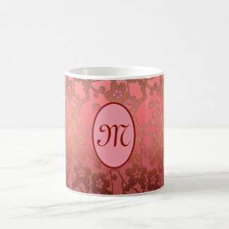 Customizable monogram Mug, pinks, dark gold Coffee Mug