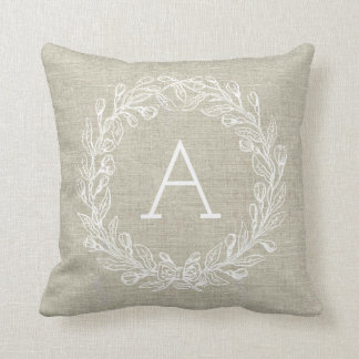 Customizable Monogram Pillow - White Wreath