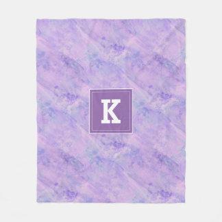 Customizable Monogram Watercolor, Purple Fleece Blanket