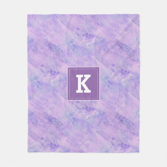 Customizable Monogram Watercolor, Purple Fleece Blanket