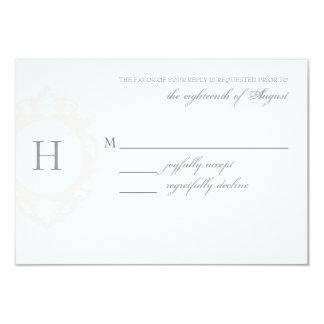 "Customizable Monogram Wedding RSVP Card 3.5"" X 5"" Invitation Card"