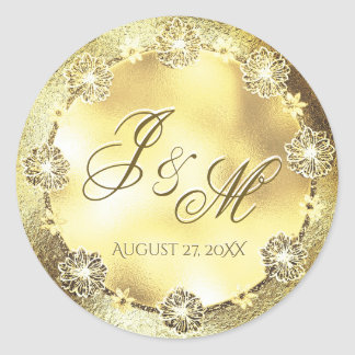 Customizable Monogram Wedding Seal Gold FLowers