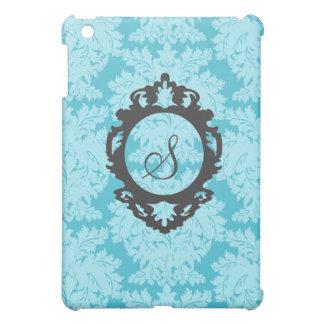 Customizable MonogramTiffany Blue Damask  iPad Mini Case